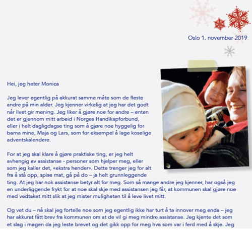 Deler av brevet fra NHFs julekampanje